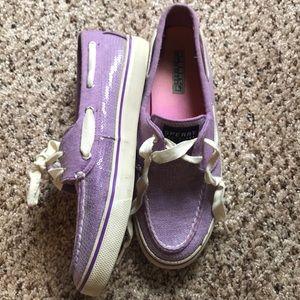 Purple sparkly Sperrys